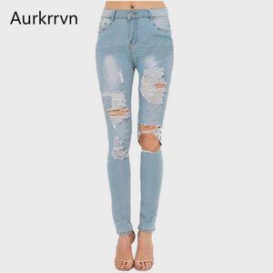 Aurkrrvn Woman's Ripped Jeans Denim Female Scratched Vintage Autumn Long Jean Pants Woman 2020 Boyfriend Skinny Jeans Woman
