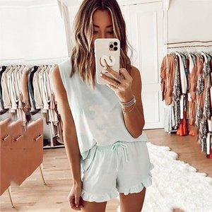 Summer Womens Tie Dye Printed leopard Short Pajamas Set Sleeveless PJ Set Casual Loungewear Nightwear Sleepwear women clothing T200713