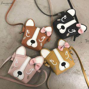 Mini Cute, One Shoulder Bag Pu Leather Cute Dog Bow Children Girl Casual Messenger Pu Bag