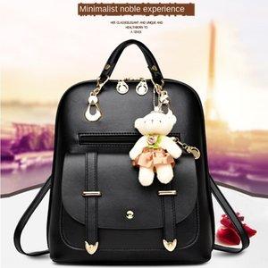 Escuela femalestudent moda del todo-fósforo de la PU de viaje de cuero bolso de la manera mochila mochila grande capacidad