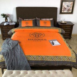2020 H bedding sets 4 pcs orange designer bedding fashion designer bed comforters sets cover BEST soft quality designer pillow cases