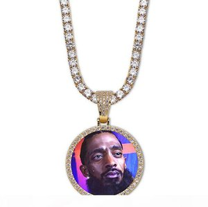 14K Custom Made Photo Round Medallions Pendant Necklace With 3mm 24inch Rope Chain Silver Gold Color Zircon Men Hiphop Jewelry