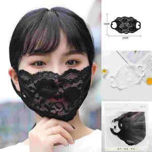Stok Moda Nakış Dantel Face In Yetişkin Rahat Yıkanabilir Ağız Yüz Kapak Moda Kız Siyah / Beyaz Parti Maskesi Maske FY9074 Maske