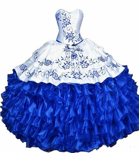 White Royal Blue Ball Gown Quinceanera Dresses 2020 lace Embroidery ruffles lace-up corset Sweet 16 Dress Vestidos De 15 Anos