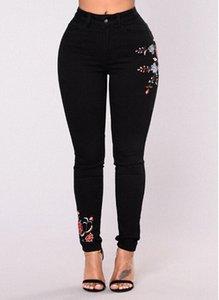 Kadınlar Çiçek Baskı Siyah Kot Seksi İnce Moda Denim Uzun Pantolon Kot Kadınlar Giyim Streewear Skinny Jeans Ücretsiz Kargo HuK8 #