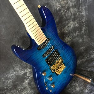 Wholesale custom high quality left hand guitar blue. Gold hardware and electric guitar tremolo system, free shipping