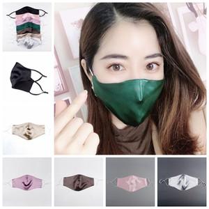 Soie Masque 2 couches Hommes Femmes Brocade Tissu de protection Facical bouche lavable réutilisable respirante réglable earloop LJJP199