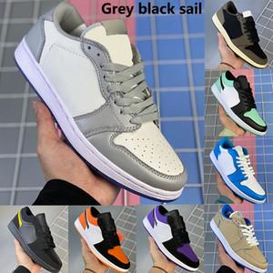 Düşük 1 2020 yeni gri Black Sails 1s basketbol ayakkabıları OG SP Travis Scotts yeşil paris UNC jumpman erkekler kadınlar spor ayakkabıları çam