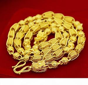 de peso pesado! Transporte grano 48g 24k dragón real Amarillo Sólido Collar joyería 5mm cadena del encintado de menta-Gold hombres de letras 100% real