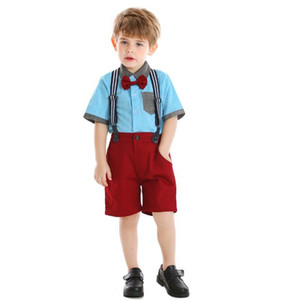 Summer new boys' short sleeve shirt stitching color contrast Lapel strap pants gentleman bow tie 61 cross border children's wear