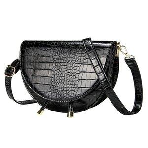Crocodile Pattern Crossbody Bags for Women Half Round Messenger Bag Pu Leather Luxury Handbags Lady Bags Designer Shoulder Bag