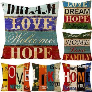 Fronha Vintage Pintado Cartas Pillowcase Tampa linho Throw Pillow Capa de Almofada Sem Recheio Decoração Pillowcase LSK322