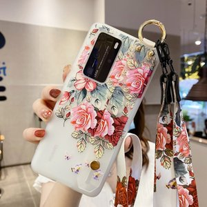 Wrist Strap Rope Lanyard Case For Huawei P40 P20 LITE P30 Nova 6 SE 7 PRO Honor 30 V30 30S Necklace Matte Flower Soft TPU Stand Phone Cover