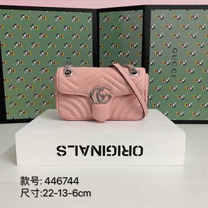 2020 hot classic colors brwon letter logo leather women handbag fashion men leather shouler bag free shipping 22-13-6cm 446744 02