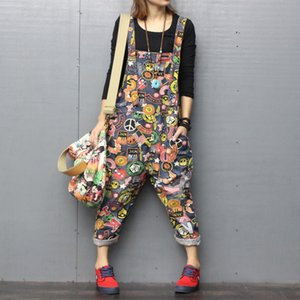 Plus Size Jumpsuits and Rompers for Women Print 2020 Sping Denim Overalls Loose High Waist Jeans Woman Korean Fashion Leotard