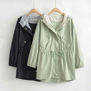 Windbreaker encapuçado fêmea trench coats da Mulher 2020 Brasão Primavera Outono longo com cordão cintura Cotton Casacos Plus Size Casual