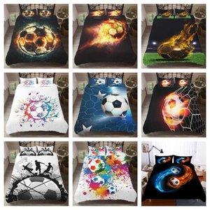 كرة القدم كرة القدم الساخنة نمط مجموعة مفروشات 3D الطباعة الرقمية 2 / مل 3pcs حاف مجموعة وسادات الغلاف مع إغلاق السوستة المملكة المتحدة / الاتحاد الافريقي / الولايات المتحدة الحجم