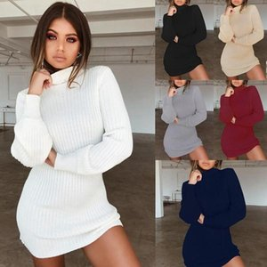 Explosion models cross-border casual women's sweater office dress sexy high collar slim long-sleeved Pure color lace woman fashion dres