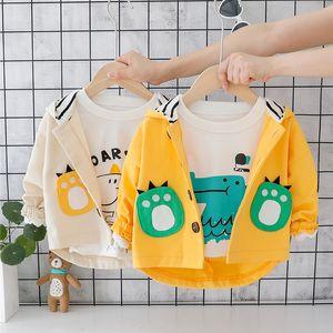 HYLKIDHUOSE 2019 otoño muchachas de los bebés bebés y niños pequeños abrigos abrigos rompevientos con capucha de dibujos animados niños ocasional chaquetas CX200727