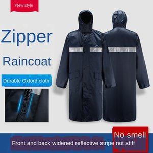 xLhNM Labor protection raincoat adult conjoined outdoor hiking zipper waterproof reflective raincoat lengthened Oxford cloth zipper Oxford c