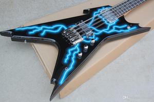 Personalizado 8 Cordas Da Guitarra Elétrica Preta com Padrão Relampago, Inlay Palisander Griffbrett Com Lamina, oferecendo serviços personaliza