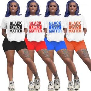 Womens Tracksuit Femme Naturel Color Tracksuits Modèle de lettre Deux pièces Set Casual Sleeve Sleeve Top Shorts