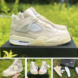 scarpe nike air retro jordan 4 sail 4 x off white Con scatola Lacci 2020 Scarpe da pallacanestro da uomo Jumpman da donna di alta qualità Sneakers sportive da uomo