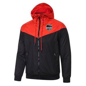 20 21 Houston Dash Veste à capuche coupe-vent football fermeture à glissière complète survetement 2020 2021 veste de soccer Dash Houston Vestes de sport pour hommes