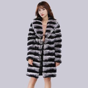 Hiver luxe Rex Chaleureuse Pelt réel chinchilla Rex Manteau de fourrure véritable Veste en fourrure d'hiver Femmes Manteaux