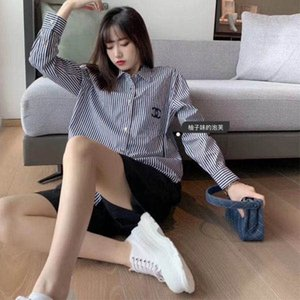 2020 autumn new style small fragrance vintage embroidery striped pocket loose versatile shirt classic striped shirt woman