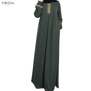 Fashion Muslim Dress Women Plus Size Print Abaya Muslim Maxi Dress Casual Kaftan Long Dress Abaya Solid Islamic Clothing For Women New