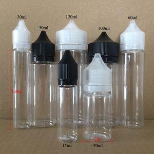 15ml al por mayor 30ml 50ml 60ml 100ml 120ml botella de PET botellas de plástico gorila cuentagotas negros con a prueba de niños Caps largo puntas de aguja fina