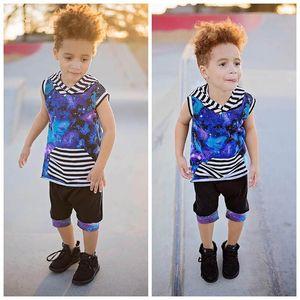 Ins Summer boys suits casual kids suits stripe boys clothing sets hooded Vest+shorts 2pcs set kids designer clothes boys clothes B1574