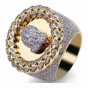 mens ring vintage hip hop jewelry exaggeration palm Zircon iced out copper rings luxury Business type fashion Jewelry wholesale