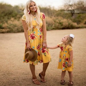 Mother Daughter Dress Clothes Printing Flowers Europe and America Family Matching Outfits Women Girl Summer Dresses Fashion CX200714