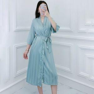 Casual Robe Sleepwear Women Satin Striped Kimono Bathrobe Gown Intimate Lingerie Silky Nightwear Nightdress Sexy Homewear Rkcln