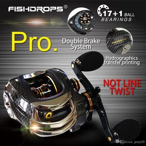 Fishdrops 17+1BB Baitcasting Fishing Reel 7.0:1 Bait Casting Left   Right Hand Rel with One Way Clutch Fish Pesca Reel