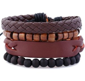 2020 Hot sale Men's genuine leather bracelet DIY PU Antique Snap button Wood Bead Bracelet Combination suit Bracelet 4styles 1set