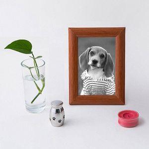 Acero inoxidable conmemorativa cineraria Ataúd creativo Urna memorias pequeñas JAR para mascotas 2.3 * 1.7 * el 1.3CM GJi6 #