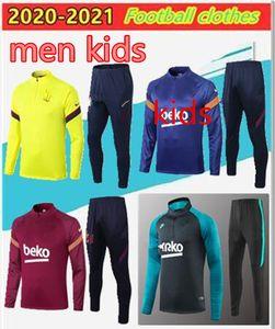 20 21 bambini + menFC BARCELONA pullover di calcio formazione tuta camiseta de futbol Ansu FATI 2020 Messi camicia giacca formazione Kit