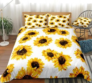 Yellow Sunflowers Duvet Cover Set Flowers Pattern Printed White Bedding Kids Boys Girls Floral Quilt Cover Queen 3pcs Dropship