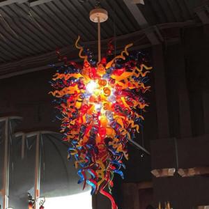 Mano moderno in vetro soffiato Lampadario di illuminazione Multicolore 48 pollici Pendant Light Foyer Loft luci di cupola moderna Led Chandelier Luster-L