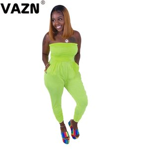 wholesale 2020 New Joker Soft Free Holiday Energy Young Solid Strapless Sleeveless Designer High Waist Slim Women Pencil Jumpsuits