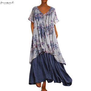 Sagace Womens Large Size Bohemian V Neck Vintage Floral Print Short Sleeve Linen Long Dress Elegant Beach Dress