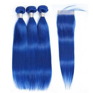 Raw Virgin Indian Silky Straight Human Hair Top Lace Closure With 3 Bundles Blue Colored Extensions Cheap Blue Straight Weaves Closure 4pcs