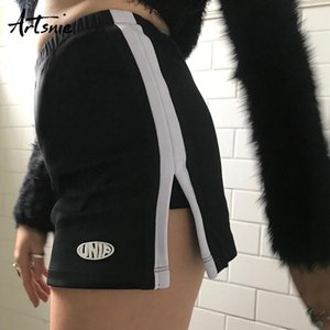 Summer High Waist Gonna casual pantaloncini Donne Sexy Split Striped Cycling Pantaloncini da corsa Femme Biker Shorts Mujer