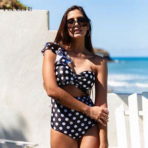 2020 Sexy One Piece Swimsuit Women Swimwear Floral Monokini Push Up Swimsuit Ruffle Bodysuit Swimsuit Female Bathing Suit T200708
