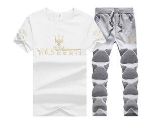 2020 Summer New Men Shorts Sets Short Sleeve T Shirt +Shorts Print Male Tracksuit Set Men's Slim Fit Clothing 2 Pieces Sets S-3XL 4XL