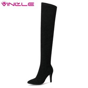 VINLLE 2019 أحذية النساء فوق الركبة أحذية عالية الكعب رقيقة زيبر الصلبة منصة الأسود السيدات للدراجات النارية مقاس الحذاء 34-43