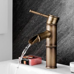 European antique bathroom sink basin faucet retro, Bamboo style single hole basin faucet vintage, Brass water tap hot and cold